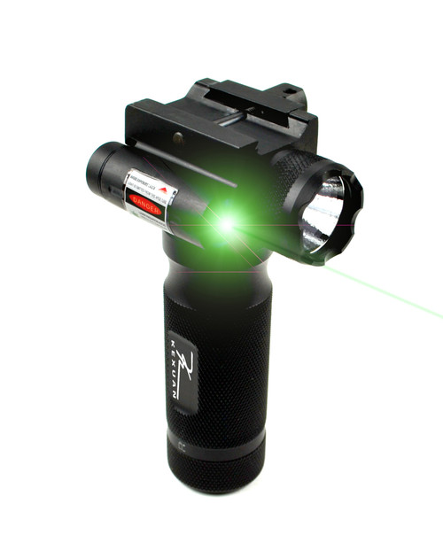 Kexuan Tactical LED Aluminum Front Grip Flashlight and Green Laser Sight Combo