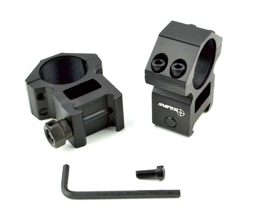 """Sniper 1"""" High Profile Scope Rings for Picatinny Rail"""