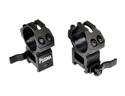 Presma 30mm Quick Release High Profile Scope Rings for Picatinny/Weaver Rails