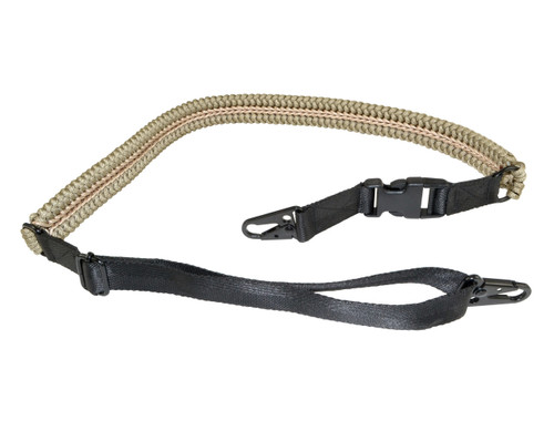 Tactical 2 Point Sling with 2 Quick Detach Hooks, Tan Paracord
