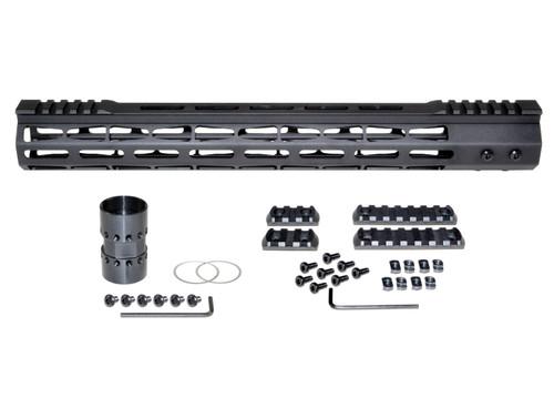 "Presma® AR-10 LR 308 Super Light M-LOK Series Free Float Handguardswith Partial Top Rail, 15"" DPMS Low Profile"