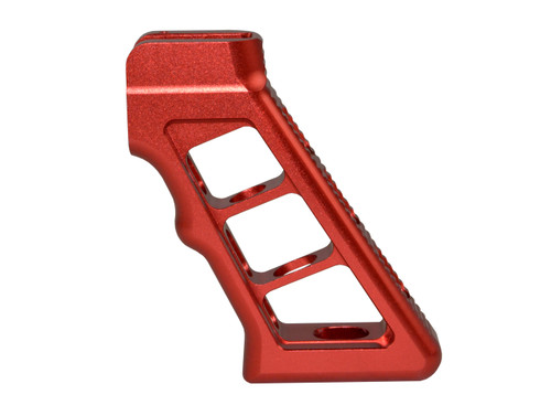 AR Skeletonized Rear Pistol Style Grip, Red Anodized Aluminum