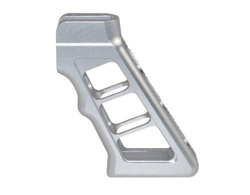 AR Skeletonized Rear Pistol Style Grip, Silver Anodized Aluminum