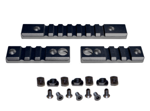 3 Piece Picatinny Rail Section Kit for M-LOK Style Slots, Black