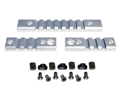 3 Piece Picatinny Rail Section Kit for M-LOK Style Slots, Silver