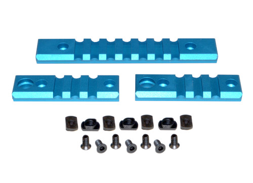 3 Piece Picatinny Rail Section Kit for M-LOK Style Slots, Blue