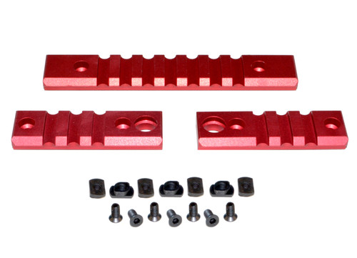 3 Piece Picatinny Rail Section Kit for M-LOK Style Slots, Red