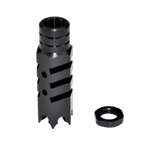 "Tactical 5/8""x24 Competition Grade Muzzle Brake, Steel with Black Phosphate Finish - AR-15 (ASMZ10)"
