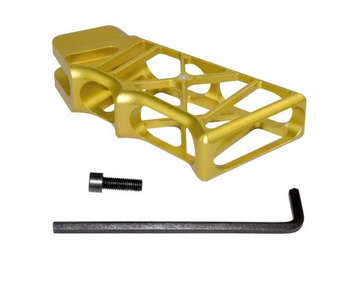 AR Lightweight Skeletonized Rear Pistol Style Grip, Gold Anodized Aluminum