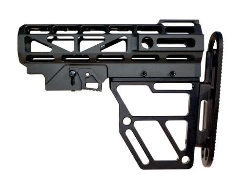 Presma Skeletonized AR Mil Spec Buttstock, Black Anodized Aluminum