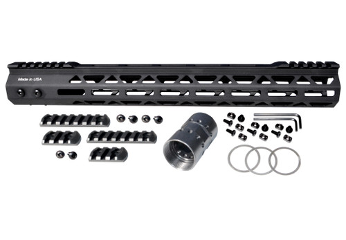 """Presma® AR-15 Super Light M-LOK Series Free Float Handguards with Partial Top Rail, 15"""", Made in USA"""