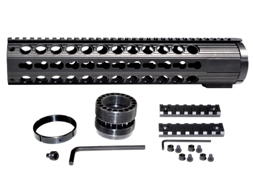 "12.375"" Free Float Keymod Handguard for LR 308 Low Profile, Large 1.935"" ID"