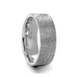 Arcesilaus Flat Pipe Cut Brushed Tungsten Ring with Custom Fingerprint Engraving from Vansweden Jewelers