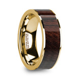 Antimachus 14k Yellow Gold Men's Flat Wedding Ring with Bubinga Wood Inlay from Vansweden Jewelers