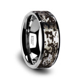The Trophonius Tungsten Carbide Wedding Ring with Engraved Digital Camouflage from Vansweden Jewelers