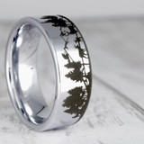 Metaneira Landscape Scene with Deer and Mountain Range Engraved Tungsten Wedding Band