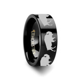 Pyraechmes Buffalo Engraved Flat Black Tungsten Ring from Vansweden Jewelers