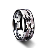 Narcissus Beveled Tungsten Carbide Ring with Black and Gray Camo Pattern from Vansweden Jewelers