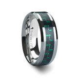 Staphylus Tungsten Wedding Band with Black & Green Carbon Fiber Inlay
