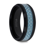 Aepytus Black Ceramic Ring with Blue Carbon Fiber Inlay from Vansweden Jewelers