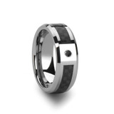 Chloris Tungsten Carbide Ring with Black Carbon Fiber and Black Diamond from Vansweden Jewelers
