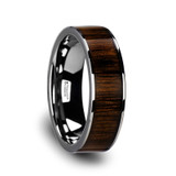 Chromia Flat Tungsten Wedding Band with Black Walnut Wood Inlay from Vansweden Jewelers