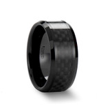 Arganthone Black Ceramic Wedding Band with Black Carbon Fiber Inlay from Vansweden Jewelers