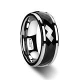 Deucalion Polished Diamond Faceted Black Ceramic Spinner Ring with Beveled Edges from Vansweden Jewelers