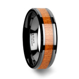 Aedon Black Ceramic Wedding Band with Black Cherry Wood Inlay from Vansweden Jewelers