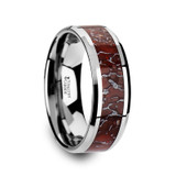 Icarus Tungsten Carbide Wedding Band with Red Dinosaur Bone Inlay from Vansweden Jewelers