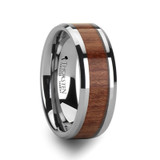 Solymus Beveled Tungsten Carbide Ring with Rosewood Inlay from Vansweden Jewelers
