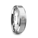 Ioke Brushed Tungsten Carbide Wedding Band with White Diamond from Vansweden Jewelers