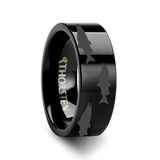 Eirene Salmon Pattern Engraved Flat Black Tungsten Ring from Vansweden Jewelers