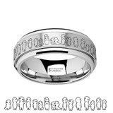 Asteria Spinning Engraved Princess Mononoke Kodama Sprites Tungsten Carbide Spinner Wedding Band from Vansweden Jewelers