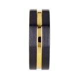 Alala Black Ceramic Wedding Band With Yellow Gold Groove