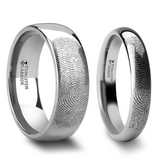 Eusebeia Fingerprint Engraved Tungsten Couple's Matching Wedding Band Set