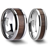 Black Walnut Wood Inlaid Tungsten Couple's Matching Wedding Band Set from Vansweden Jewelers