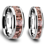 Melampus Pink Dinosaur Bone Inlaid Tungsten Carbide Couple's Matching Wedding Band Set from Vansweden Jewelers