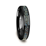 Alcestis Blue Dinosaur Bone Inlaid Black Ceramic Women's Wedding Band from Vansweden Jewelers