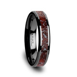 Polyxena Red Dinosaur Bone Inlaid Black Ceramic Women's Wedding Band from Vansweden Jewelers