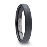 Danae Domed Black Tungsten Carbide Ring with Sandblasted Crystalline Finish from Vansweden Jewelers