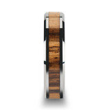 Zebra Wood Inlay Tungsten Carbide Couple's Matching Wedding Band Set