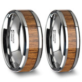 Agon Teak Wood Inlay Tungsten Couple's Matching Wedding Band Set