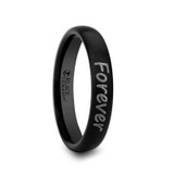 Marpesia Custom Handwriting Engraved Domed Black Brushed Tungsten Ring