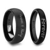 Orithyia Custom Handwriting Engraved Domed Black Brushed Tungsten Couple's Matching Wedding Band Set