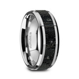 Antandre Men's Polished Tungsten Wedding Band with Black & Gray Lava Rock Stone Inlay from Vansweden Jewelers