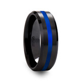 Otos Men's Black Ceramic Brushed Wedding Band with Blue Stripe from Vansweden Jewelers