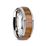 Brizo Domed Tungsten Carbide Men's Wedding Ring with Teak Wood Inlay from Vansweden Jewelers