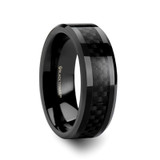 Ladon Black Titanium Polished Men's Wedding Band with Black Carbon Fiber Inlay from Vansweden Jewelers