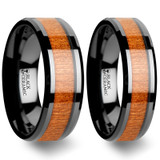 Zelos Black Cherry Wood Inlaid Black Ceramic Couple's Matching Wedding Band Set